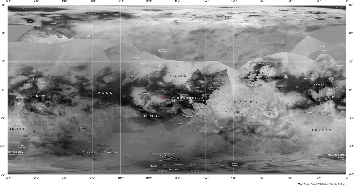 Labeled map of Titan.