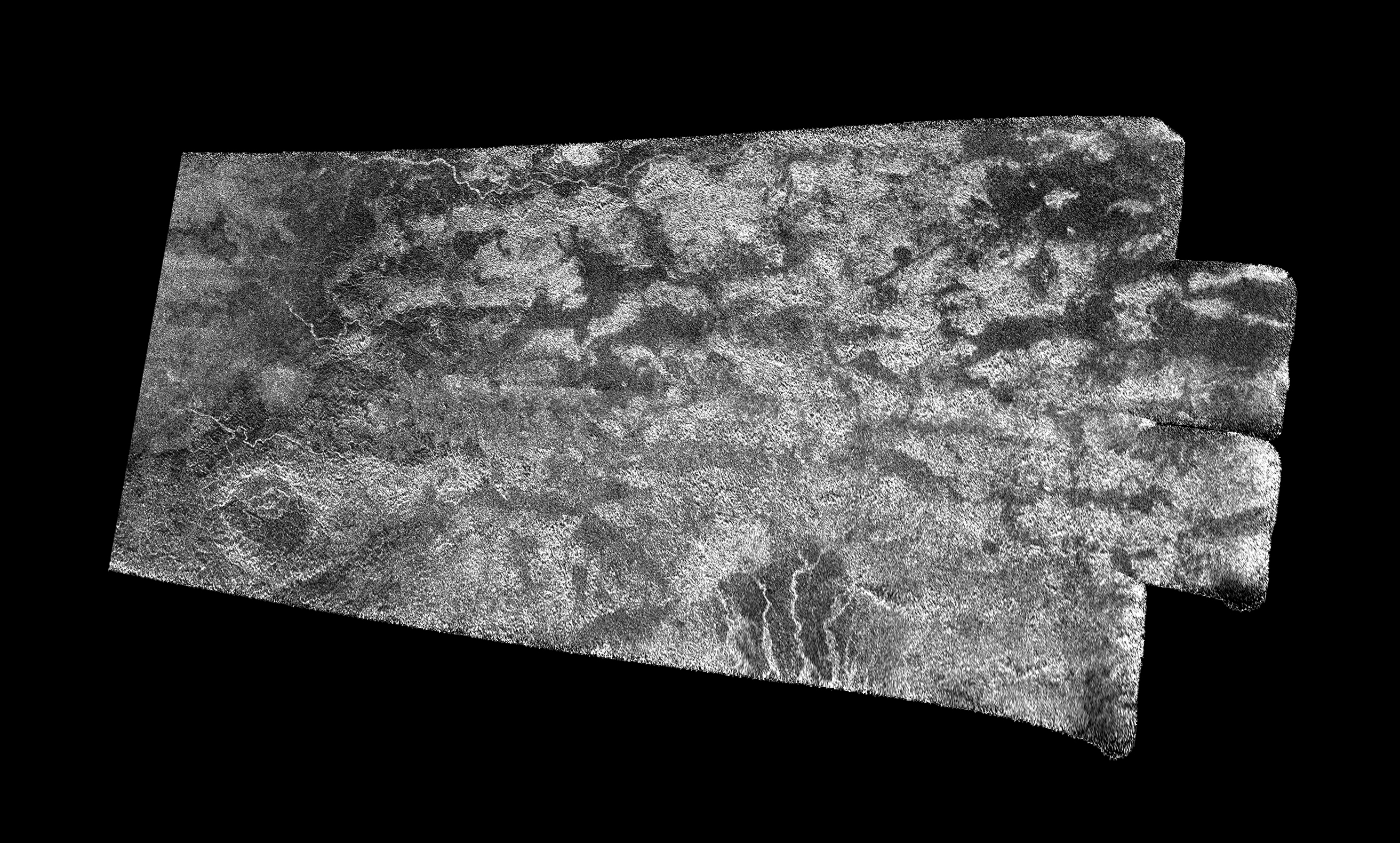 Black and white aerial image of Titan.