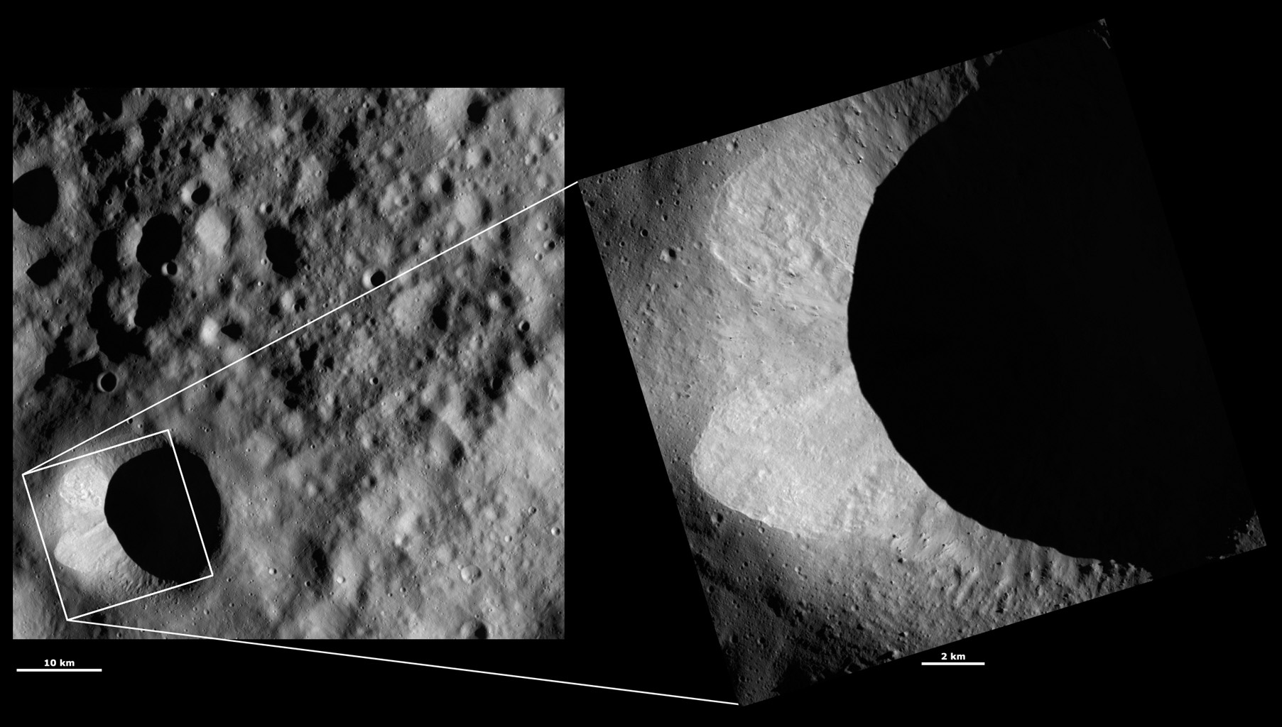 HAMO and LAMO Images of Scantia Crater
