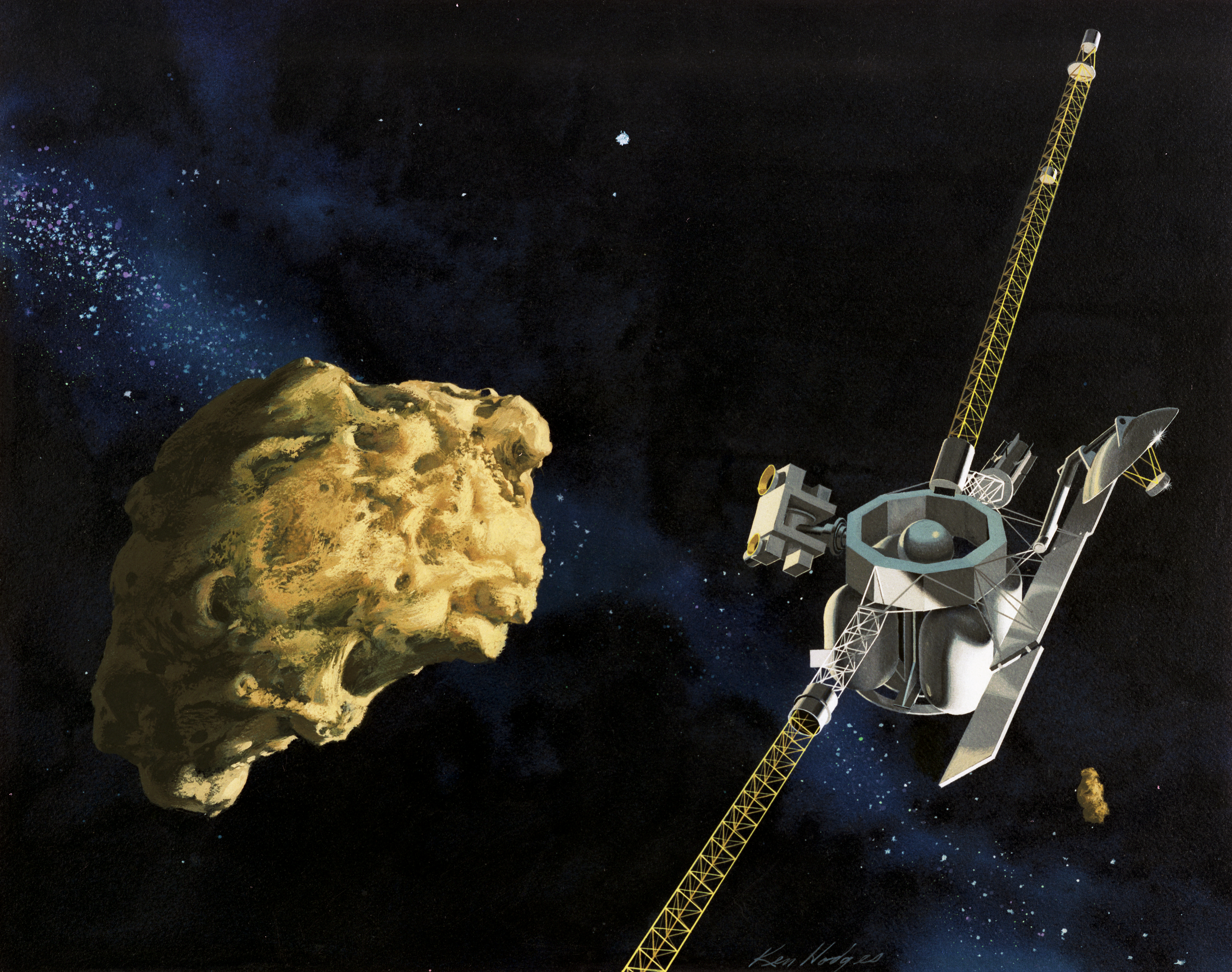 Painting of spacecraft flying close to a comet.