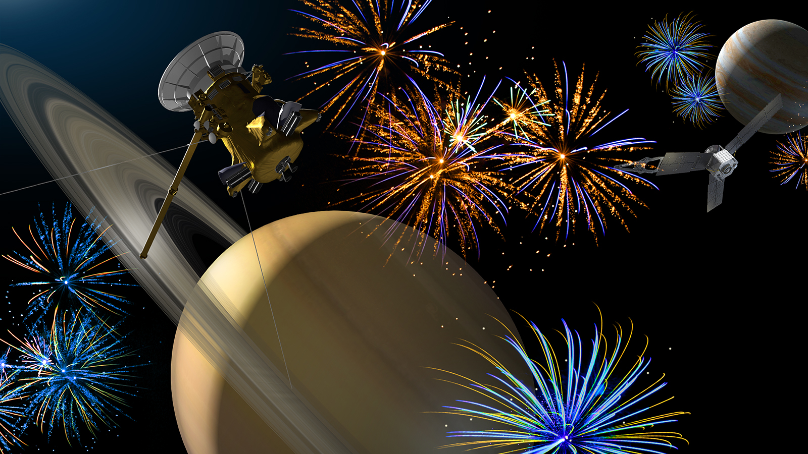 Saturn illustrated with fourth of July themes.