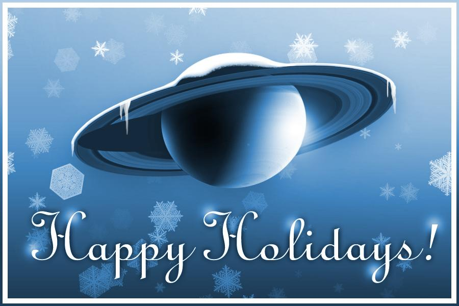 Collection of Saturn-themed holiday illustrations
