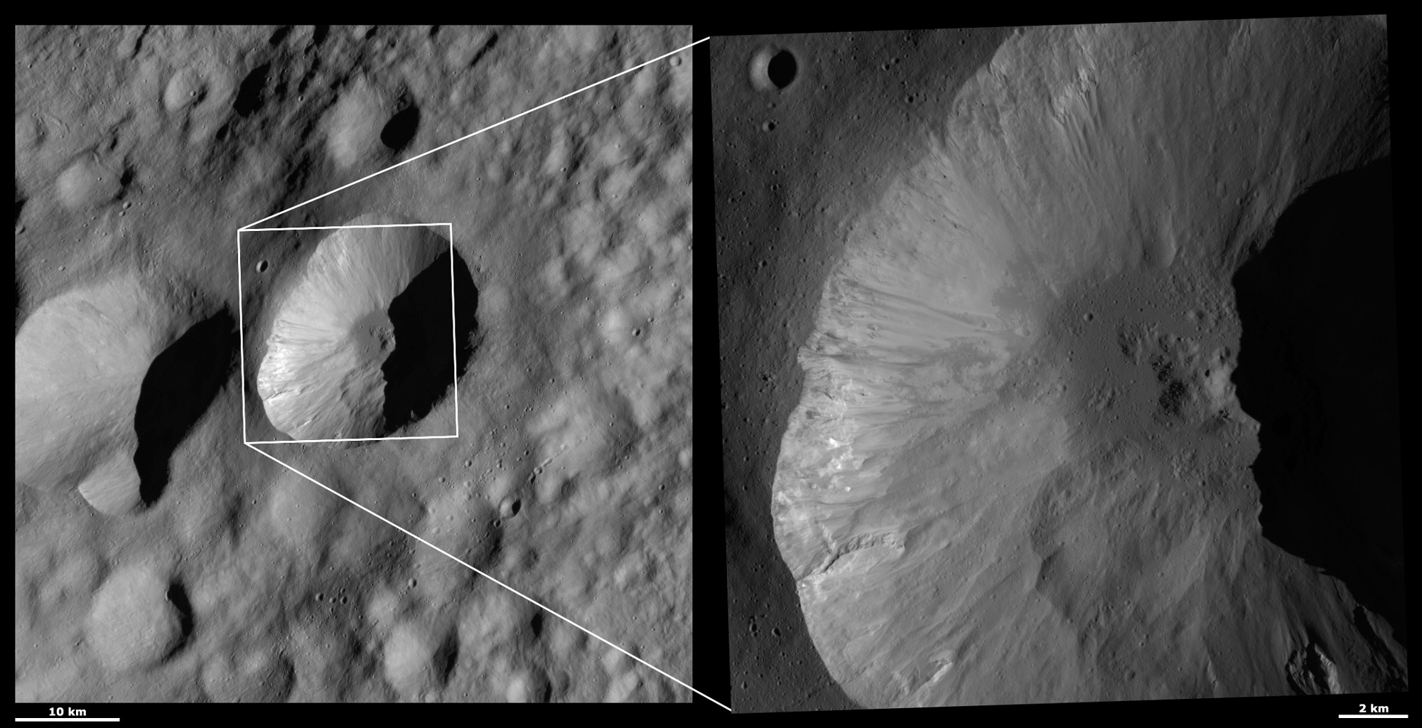HAMO and LAMO Images of Licinia Crater