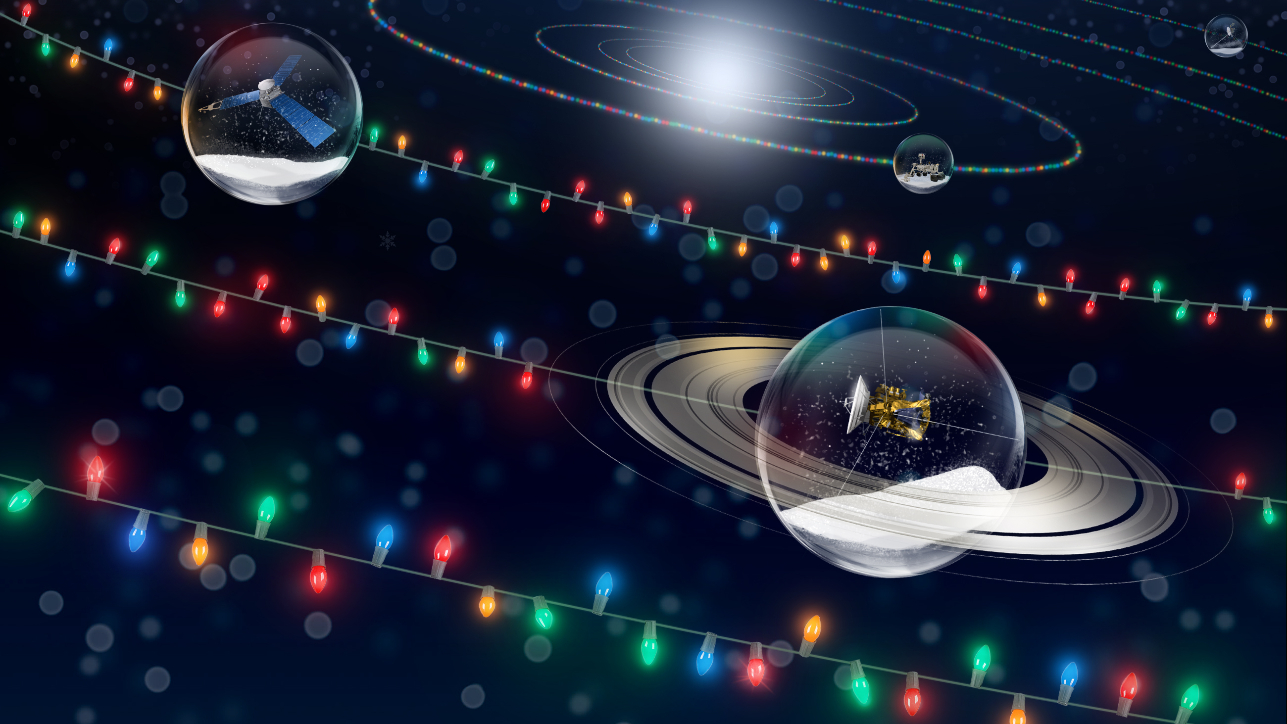 Illustration of holiday lights and spacecraft in snowglobes.