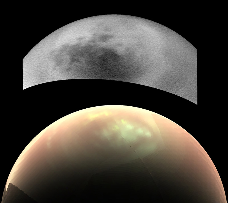 Two views of Saturn's moon Titan