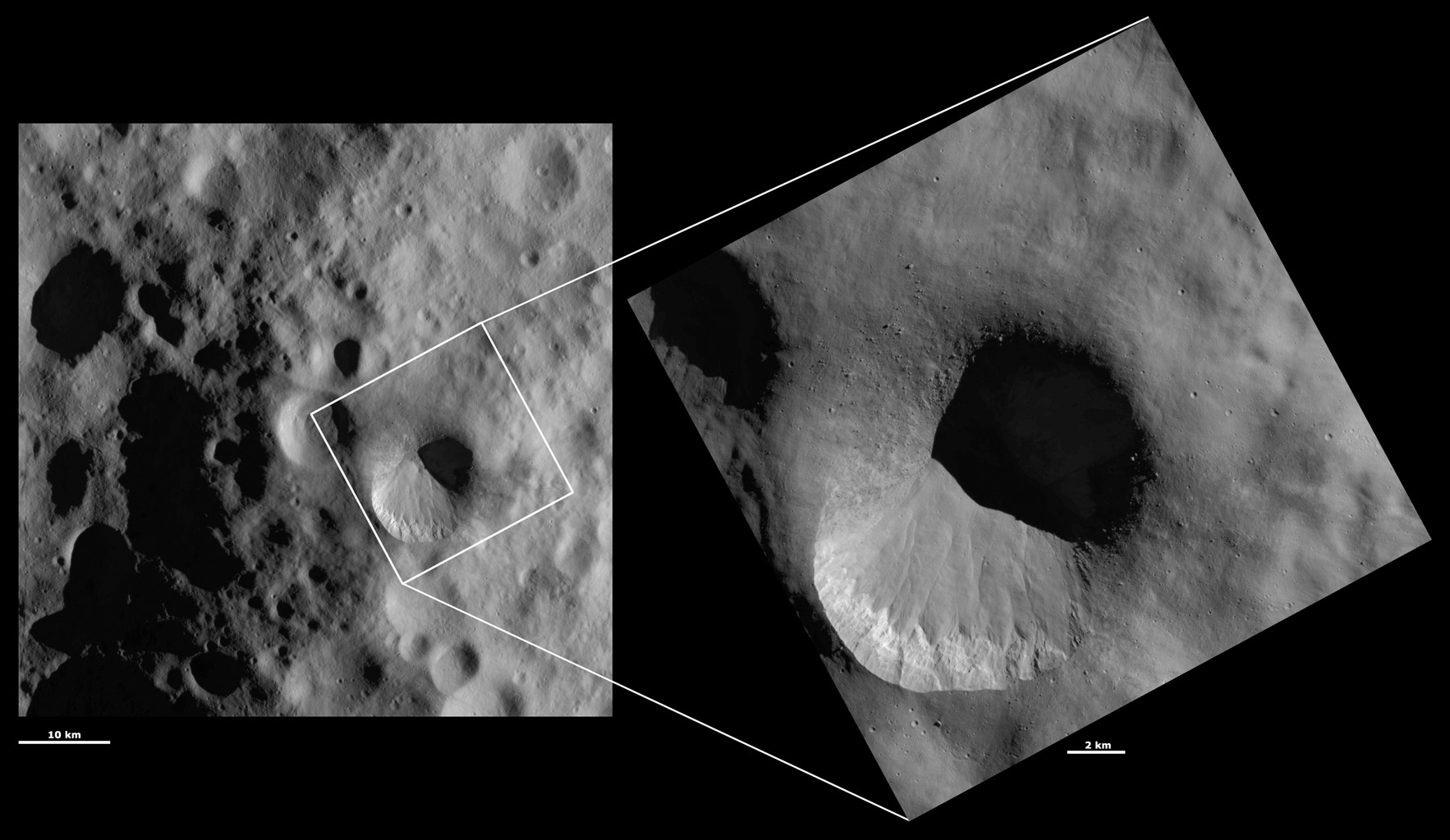 HAMO and LAMO Images of Fabia Crater