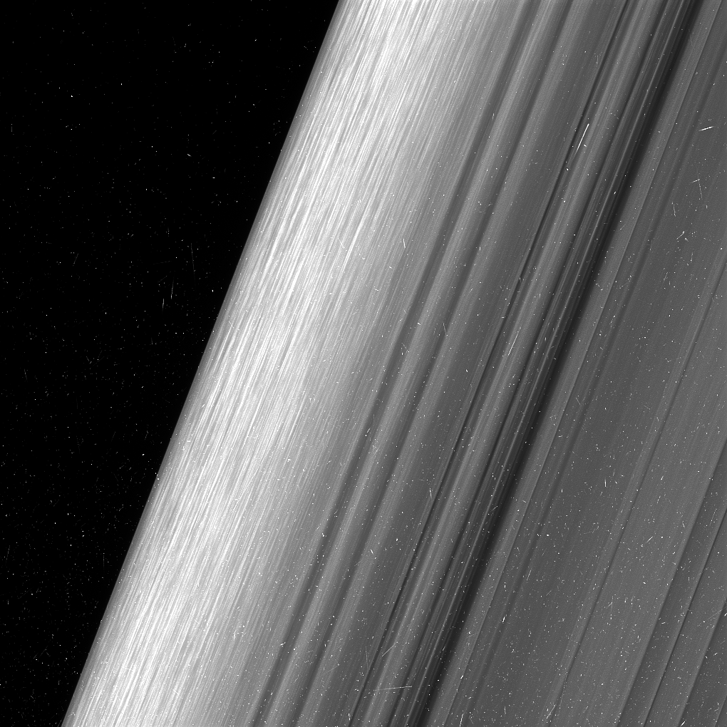 Black and white close up image of Saturn's B ring.