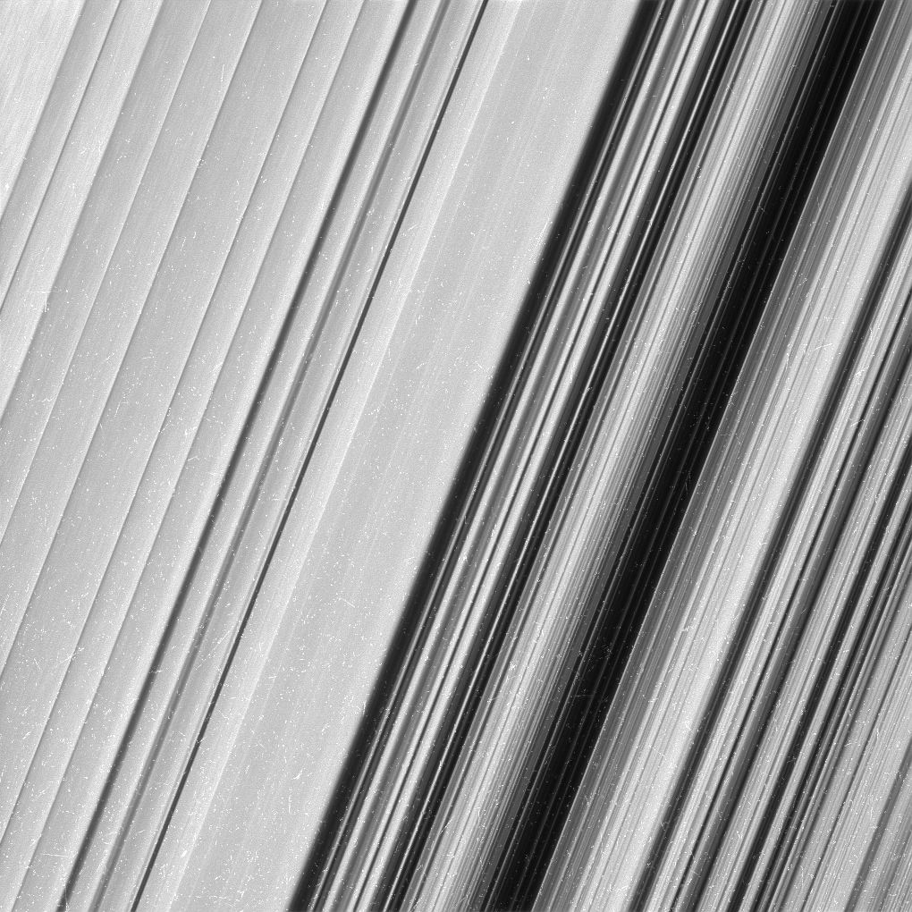 Black and white image of Saturn's B ring.