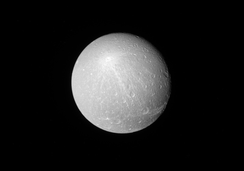 Black and white image of Dione.