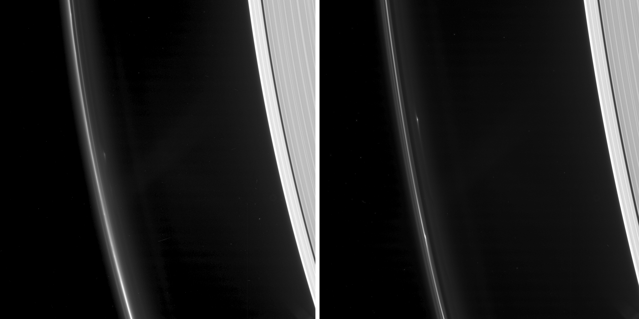 Two sets of images of objects found in Saturn's F ring