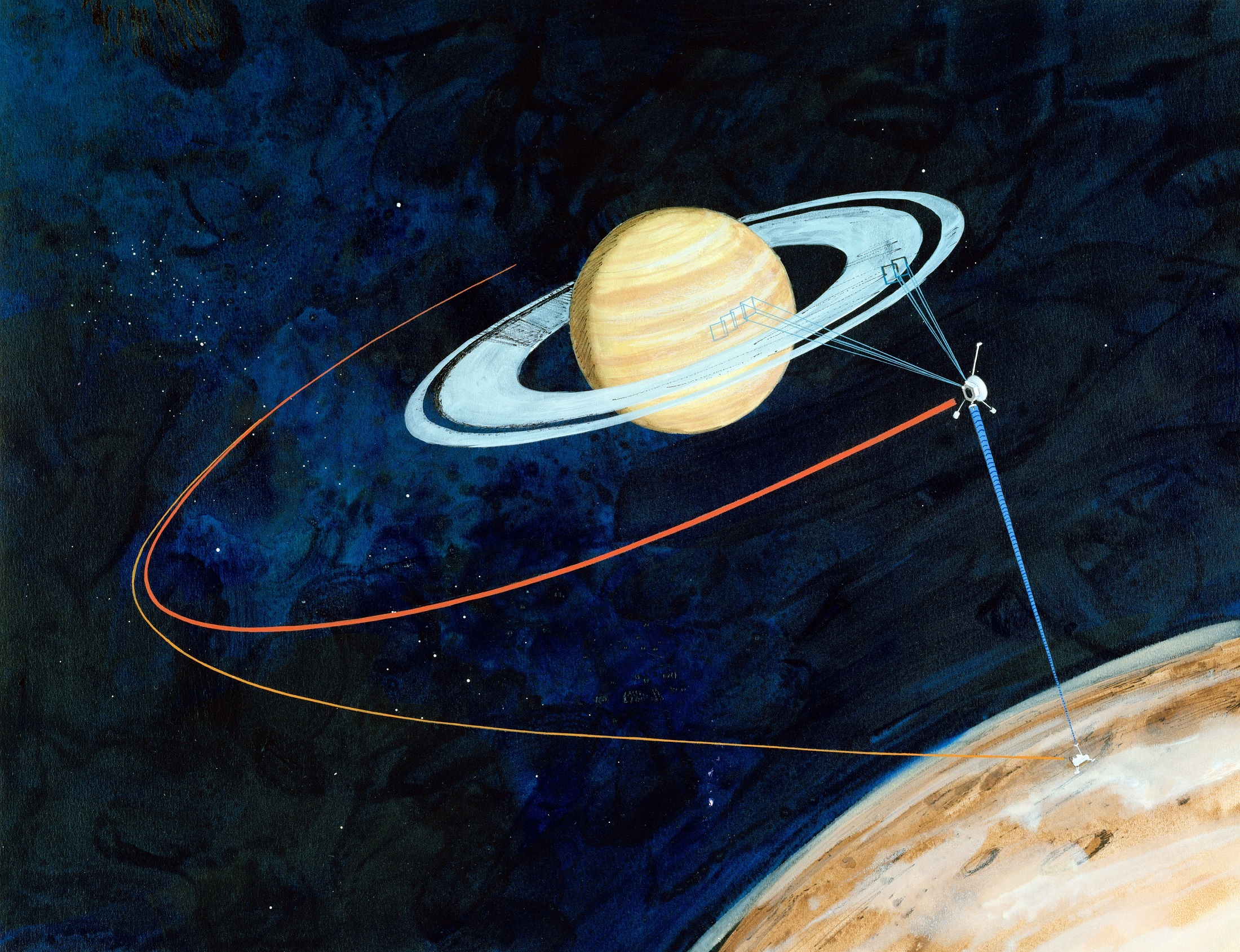 Painting of spacecraft and lander exploring Saturn and Titan.