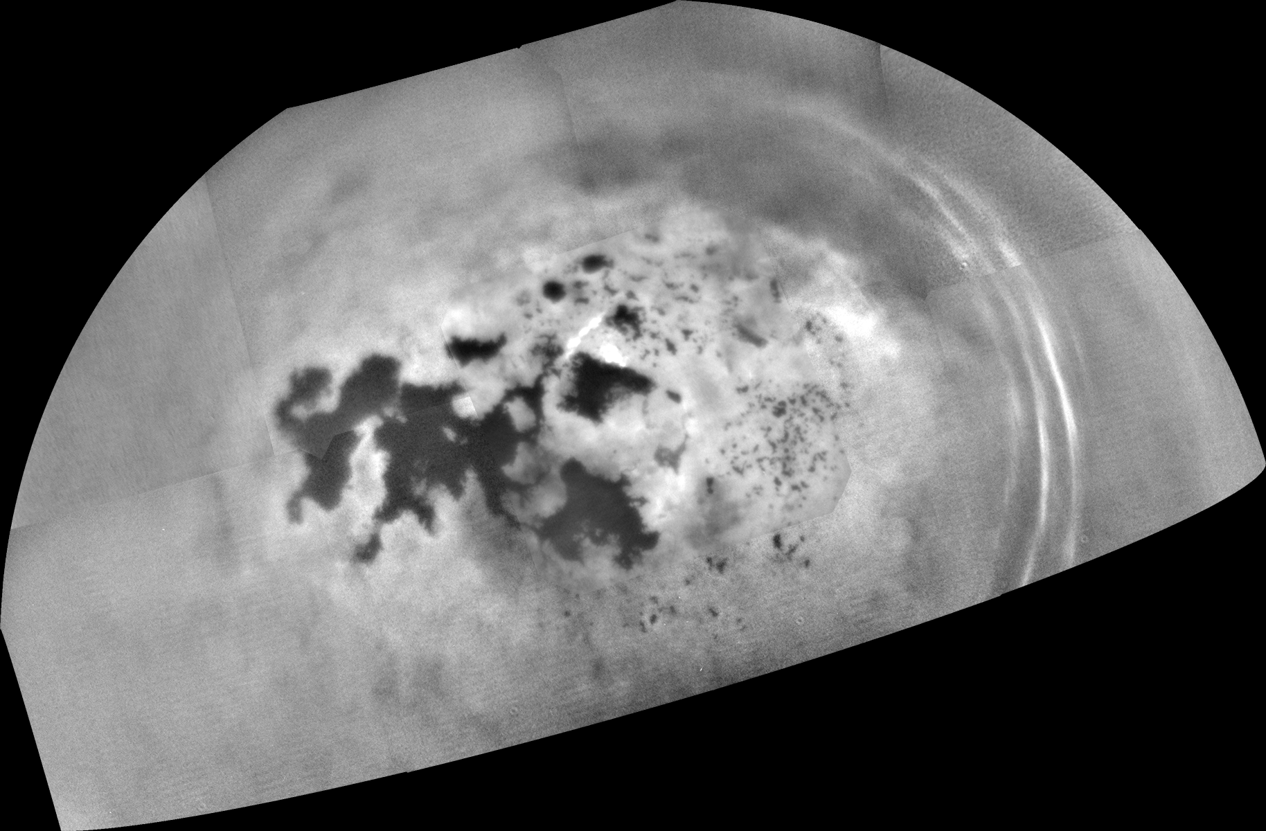 Black and white image of lakes on Titan.