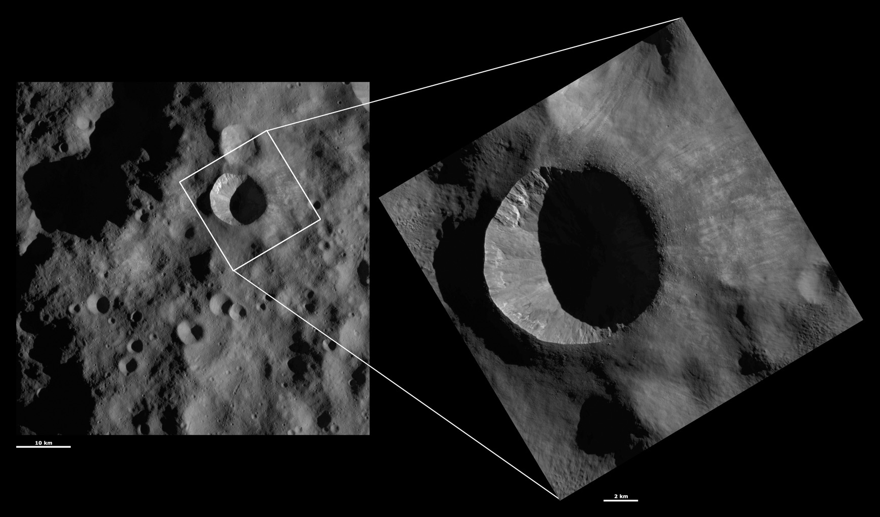 HAMO and LAMO Images of Arruntia Crater