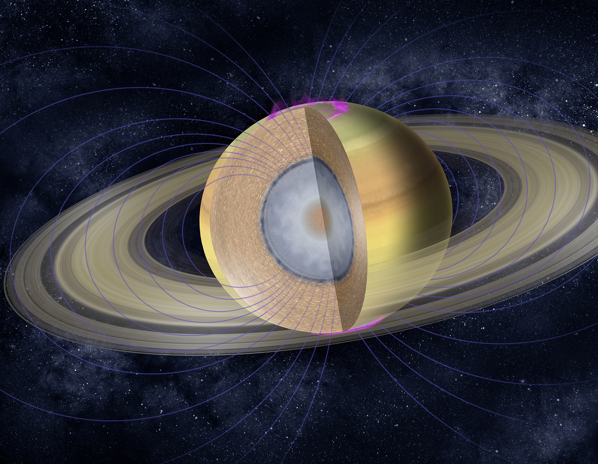 Illustration showing the layers of gas and a possible core inside Saturn.