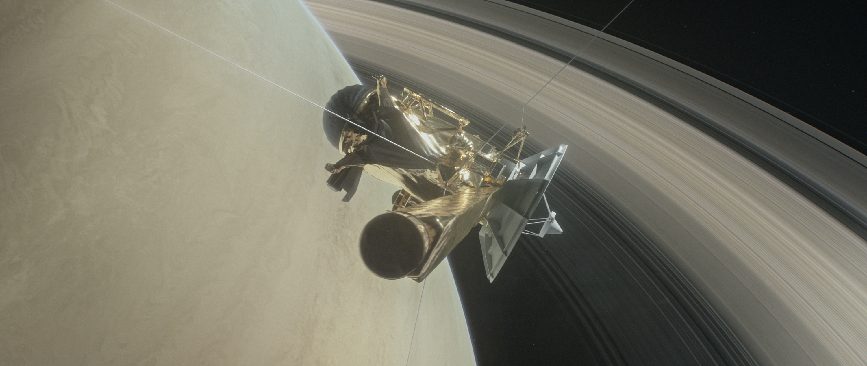 Illustration of Cassini diving between the rings of Saturn.