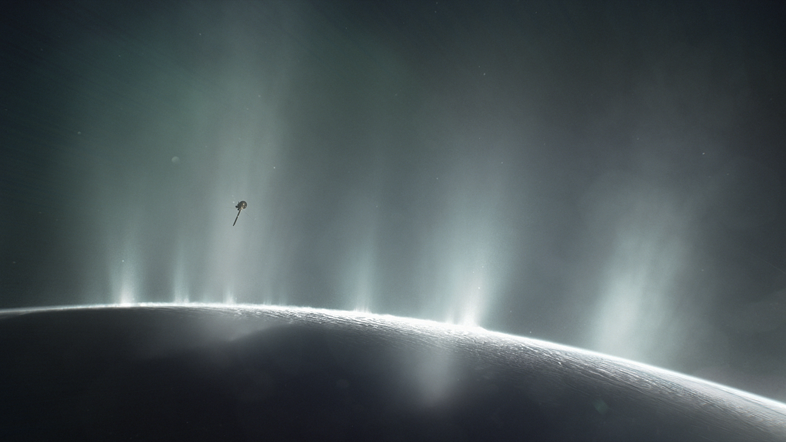 Illustration showing tiny spacecraft in Enceladus plume.