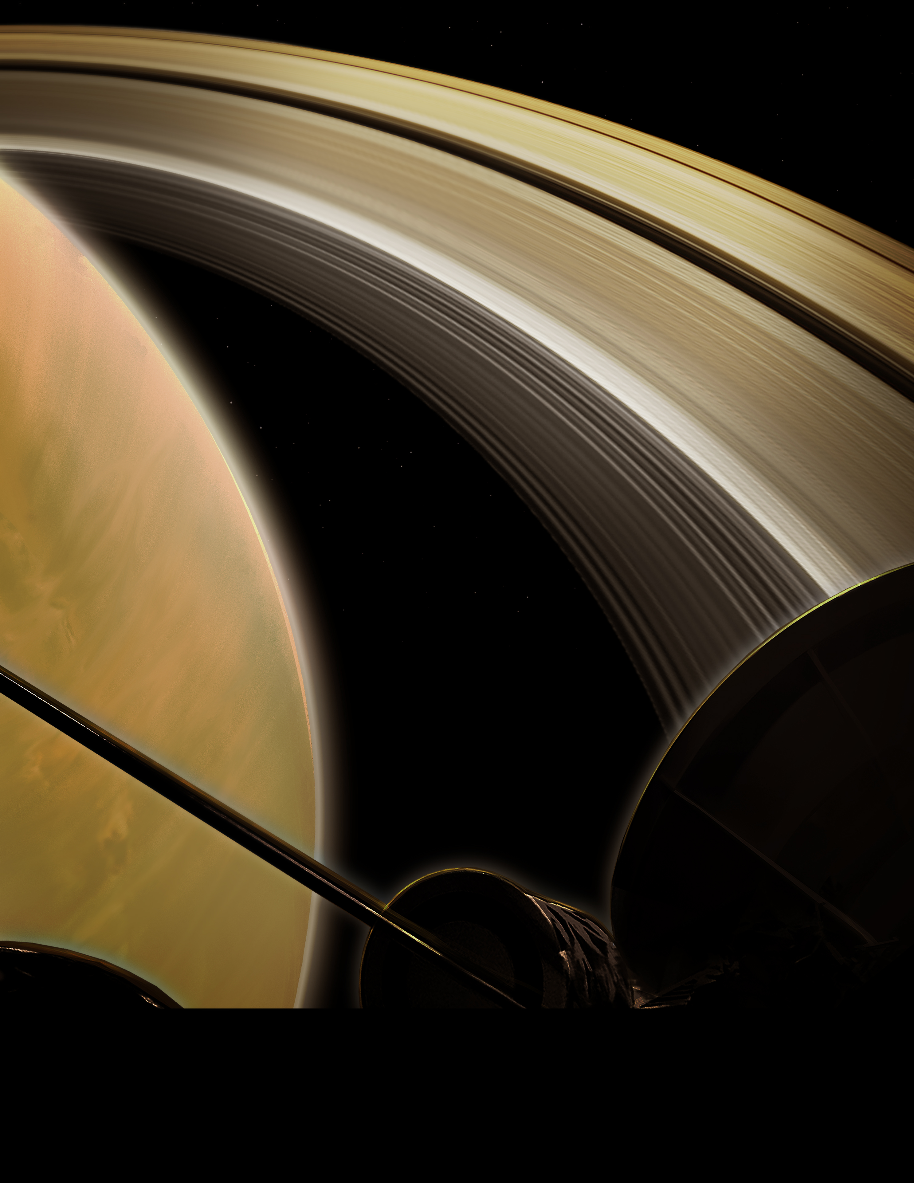 Illustration of spacecraft over Saturn.