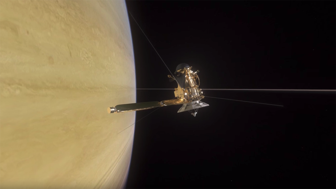 360 video animation of Cassini crossing between Saturn and its innermost ring.
