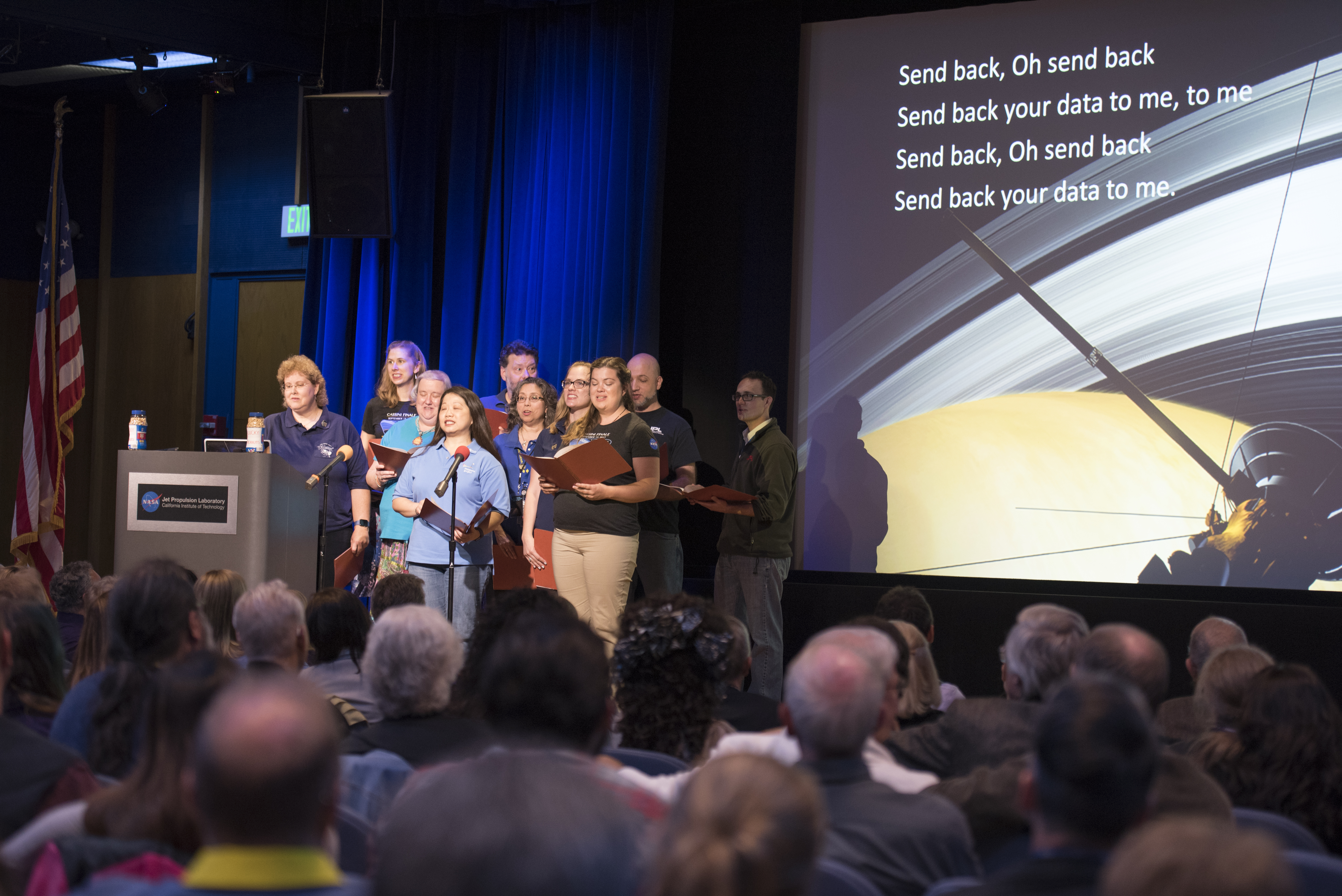 Cassini team members known as the Cassini Virtual Singers performed space-centric parody versions of popular tunes.