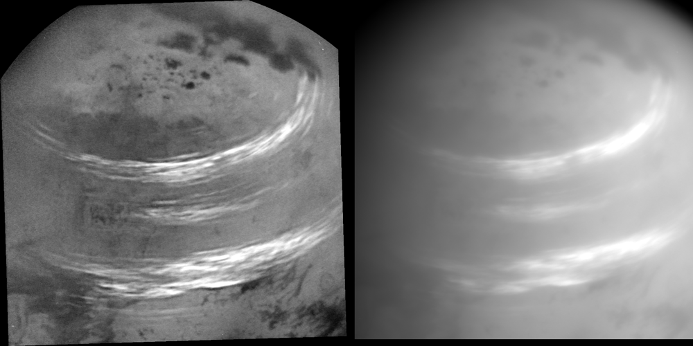 Bands of bright, feathery methane clouds drifting across Saturn's moon Titan.