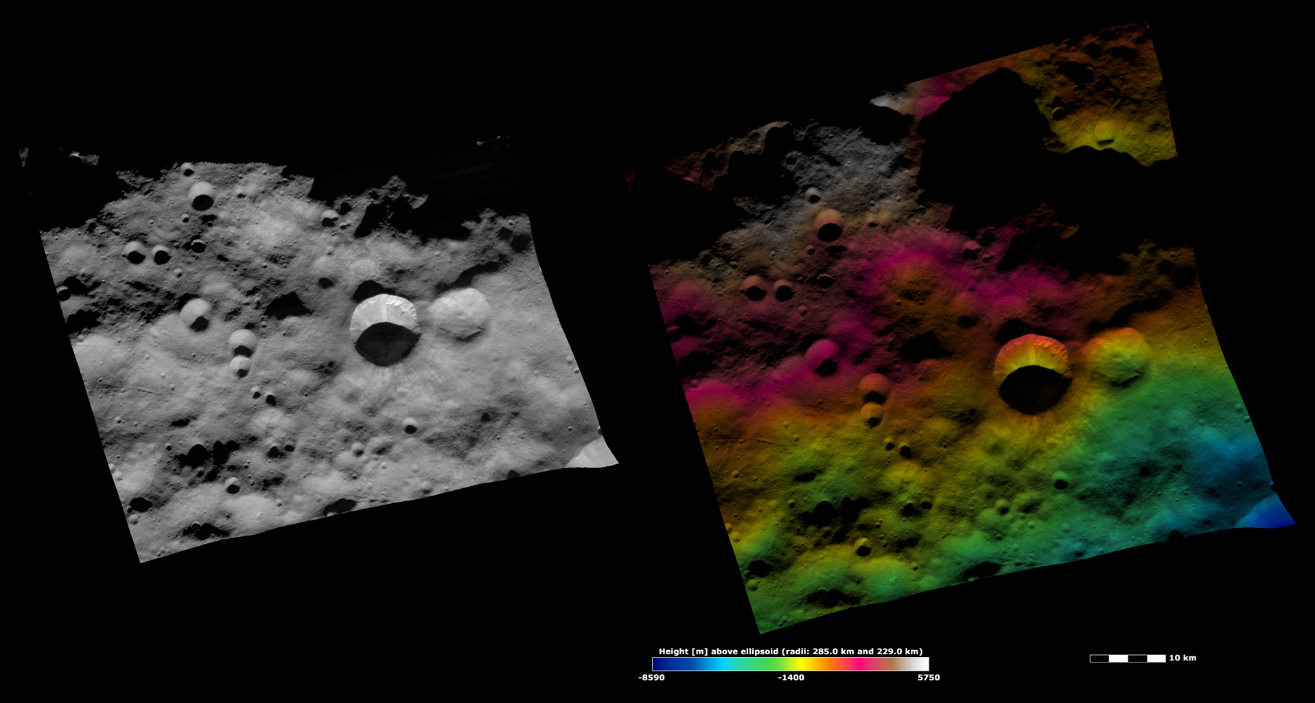 Arruntia Crater, Apparent Brightness and Topography Image