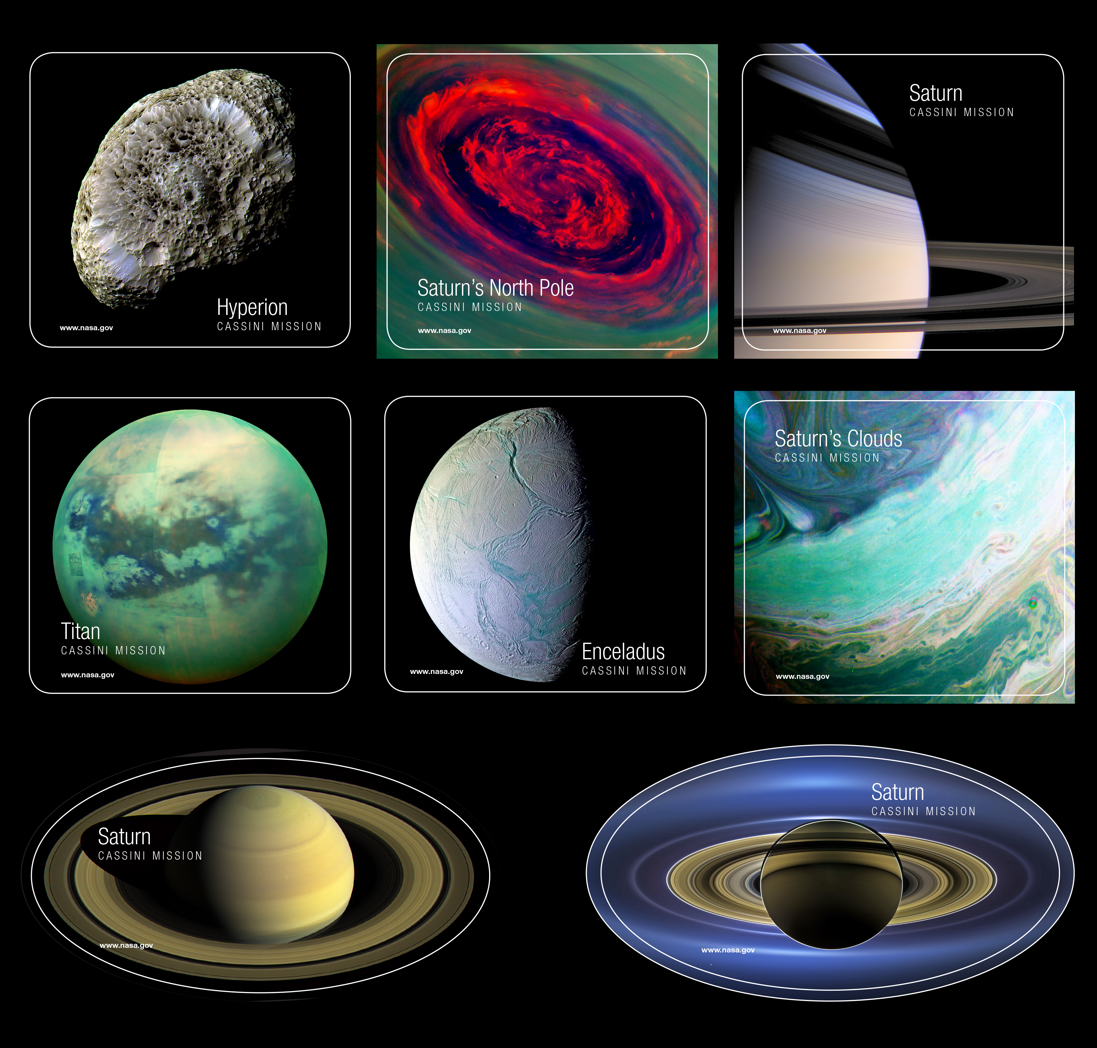 Collection of Saturn-themed stickers.
