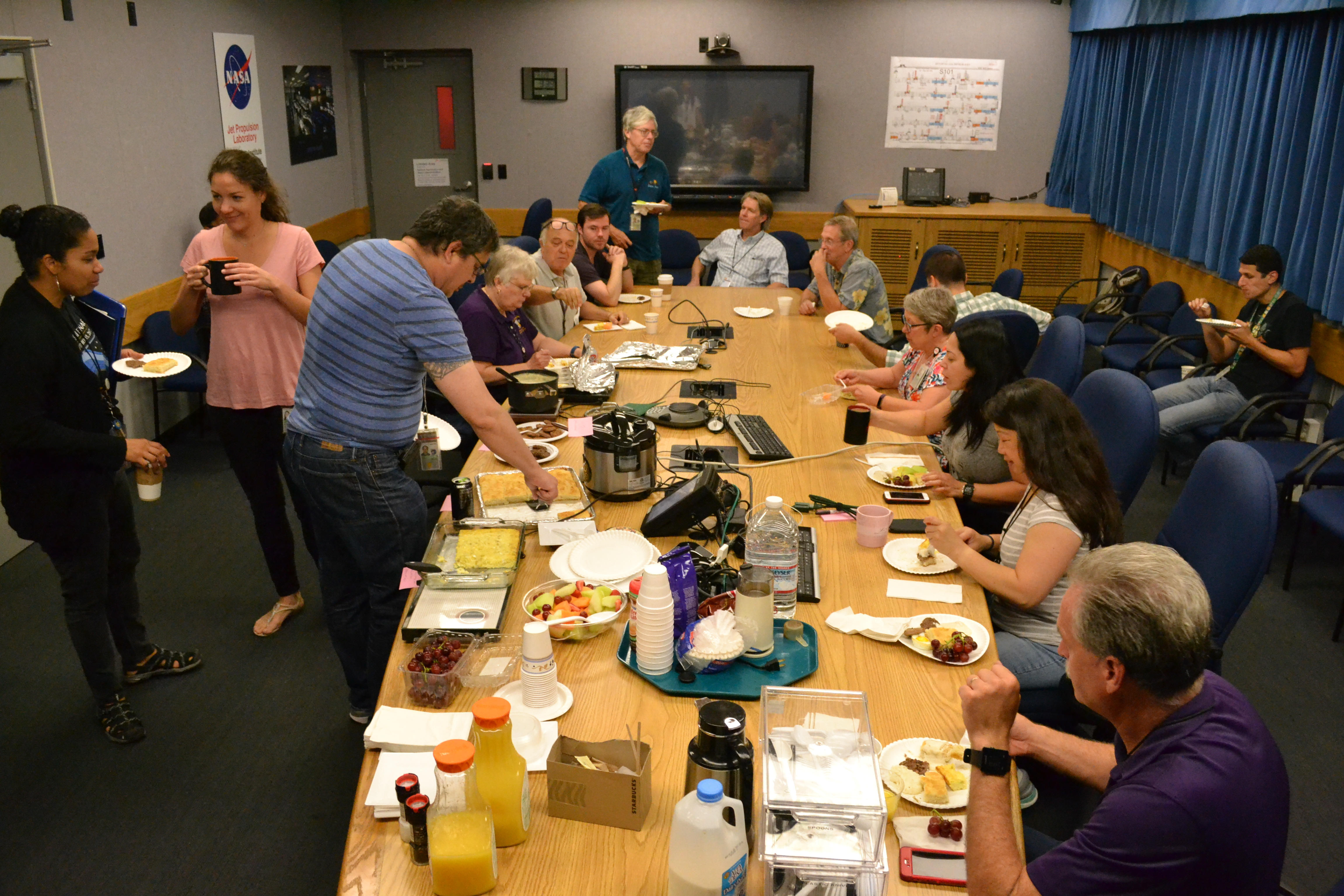 The Cassini team enjoys Friday breakfast together