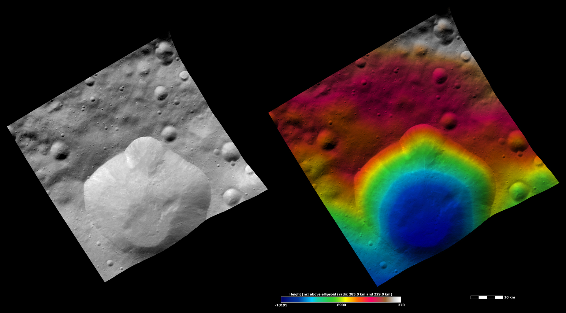 Lepida Crater, Apparent Brightness and Topography Images