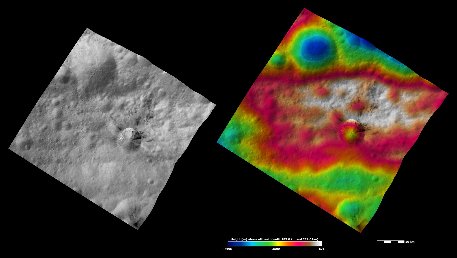 Rubria Crater, Apparent Brightness and Topography Images