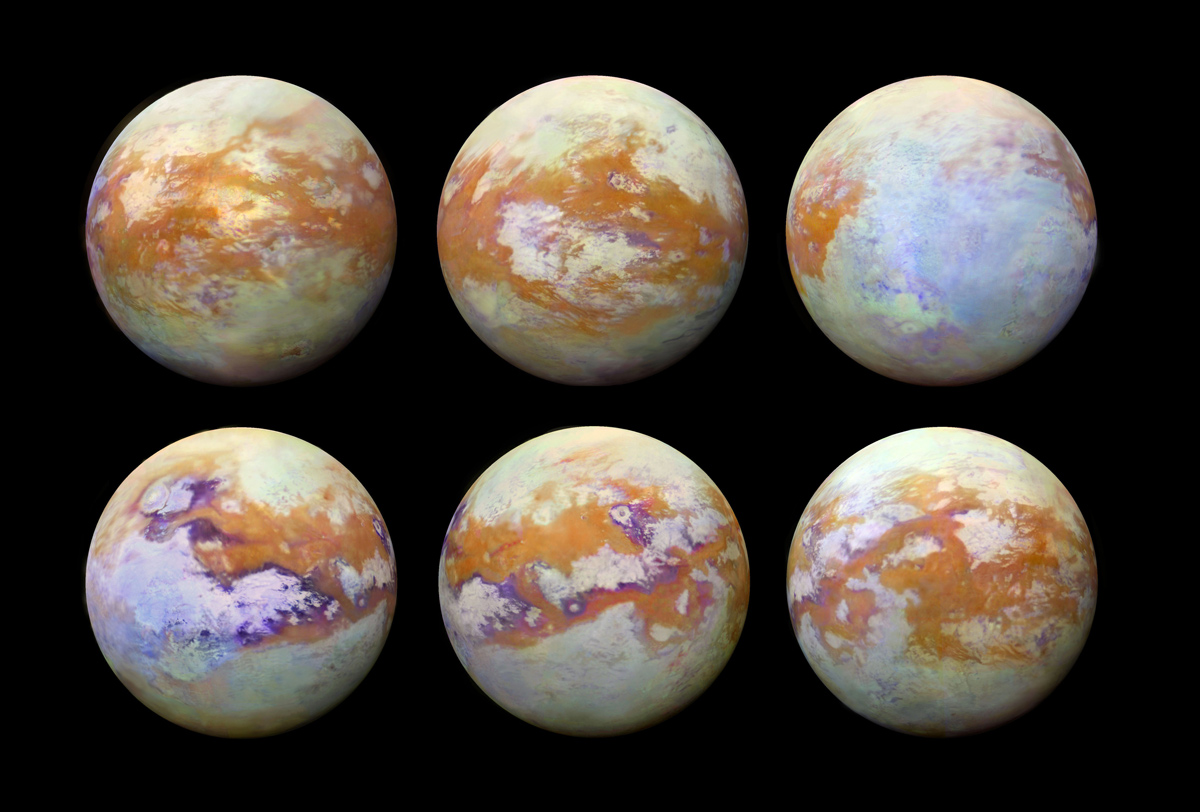 Six infrared images of Saturn's moon Titan