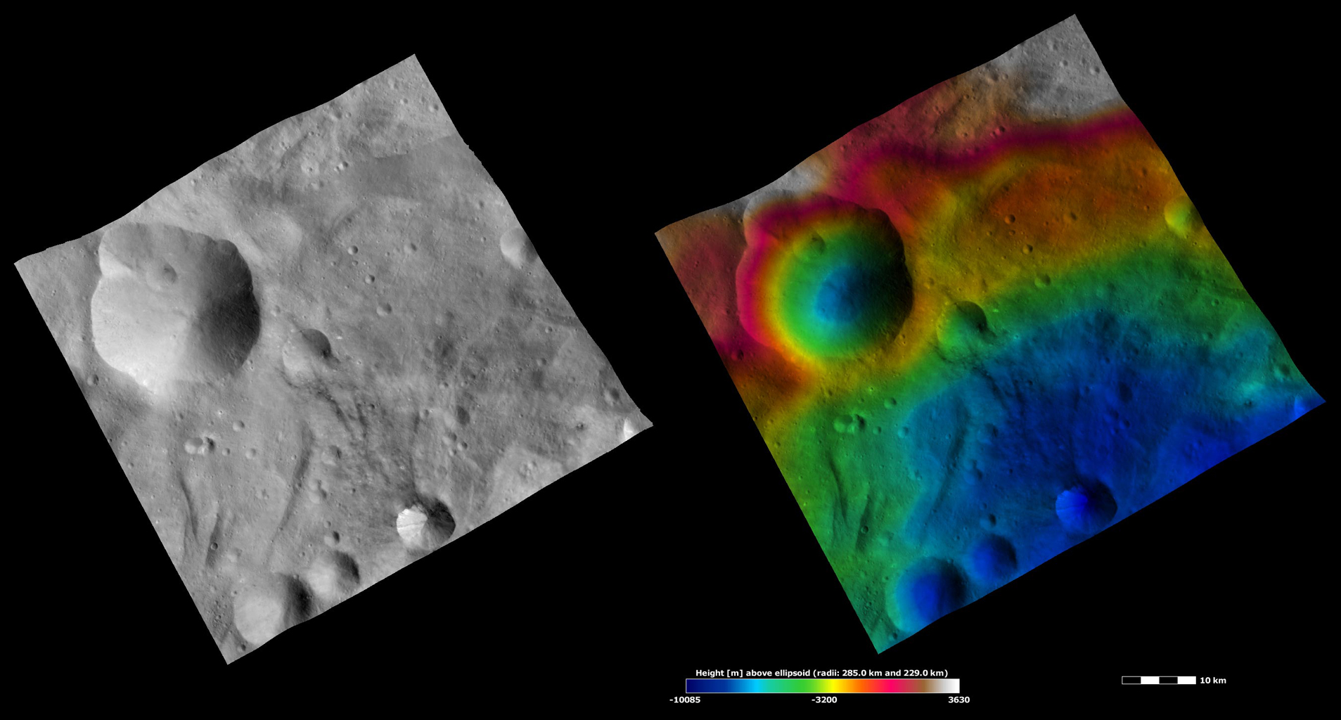 Apparent Brightness and Topography Images of Urbinia and Sossia Craters