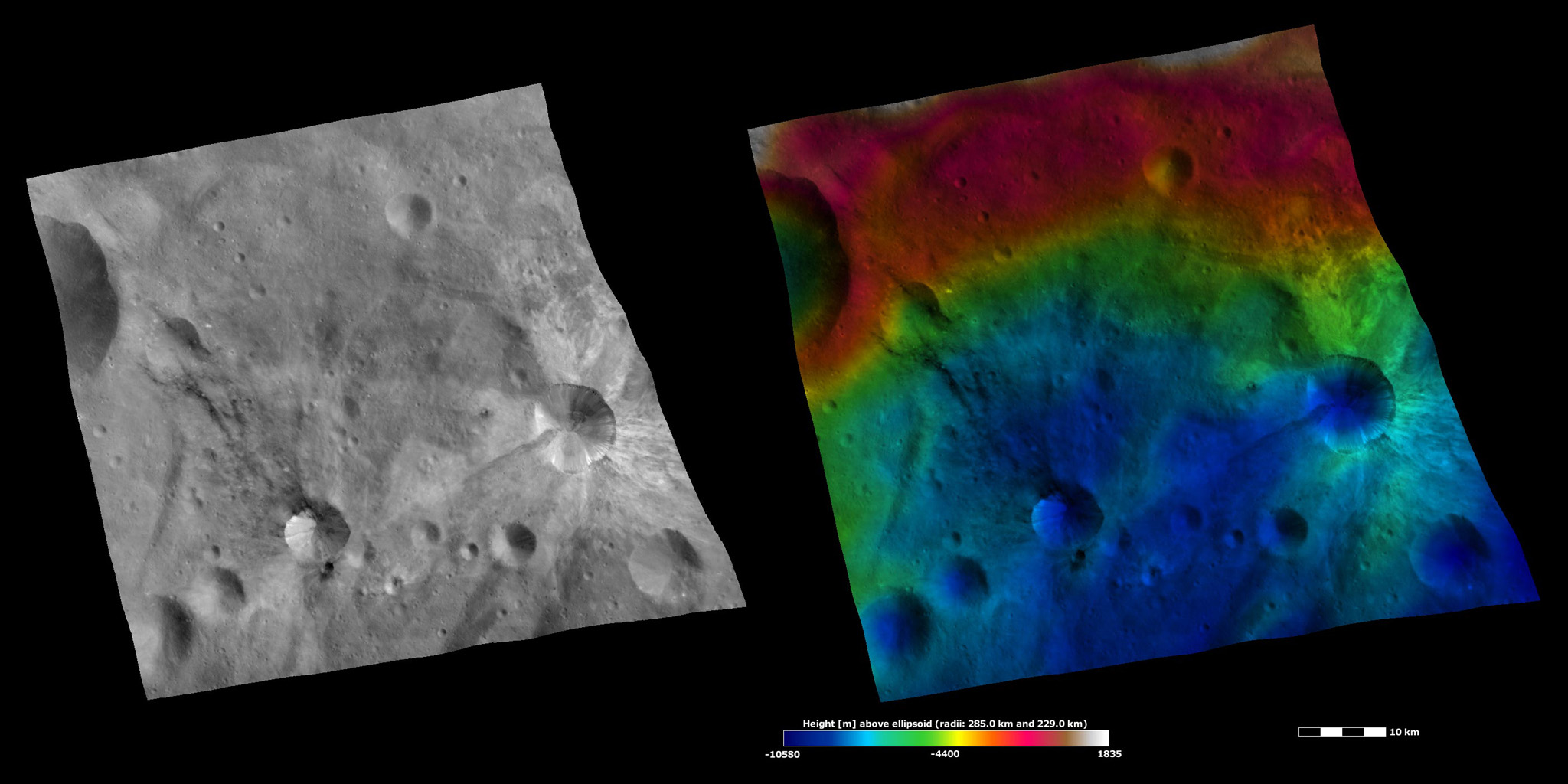 Apparent Brightness and Topography Images of Sossia and Canuleia Craters