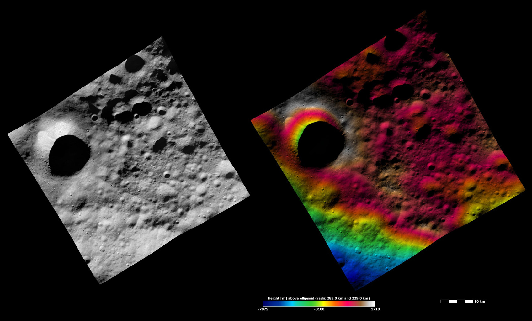 Apparent Brightness and Topography Images of Scantia Crater