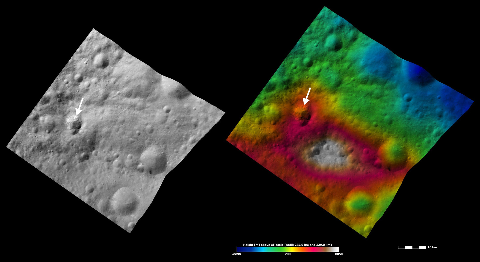 Apparent Brightness and Topography Images of Teia Crater