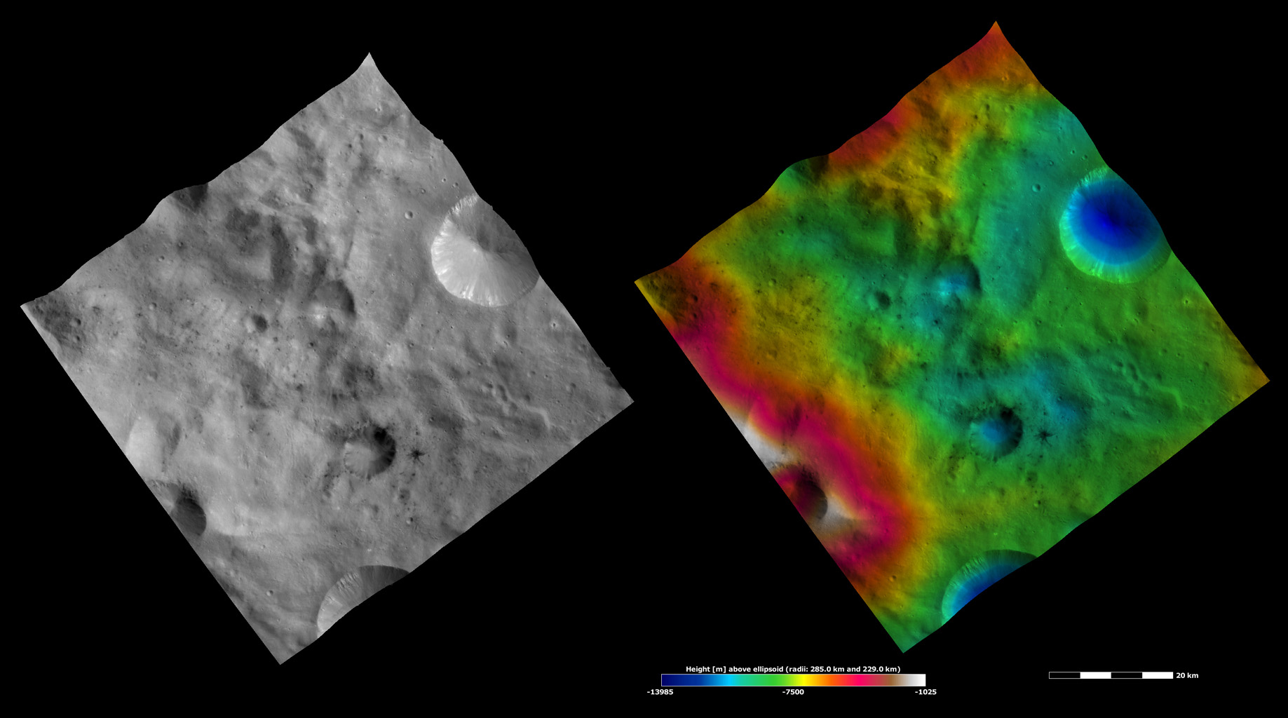 Apparent Brightness and Topography Images of Laelia Crater