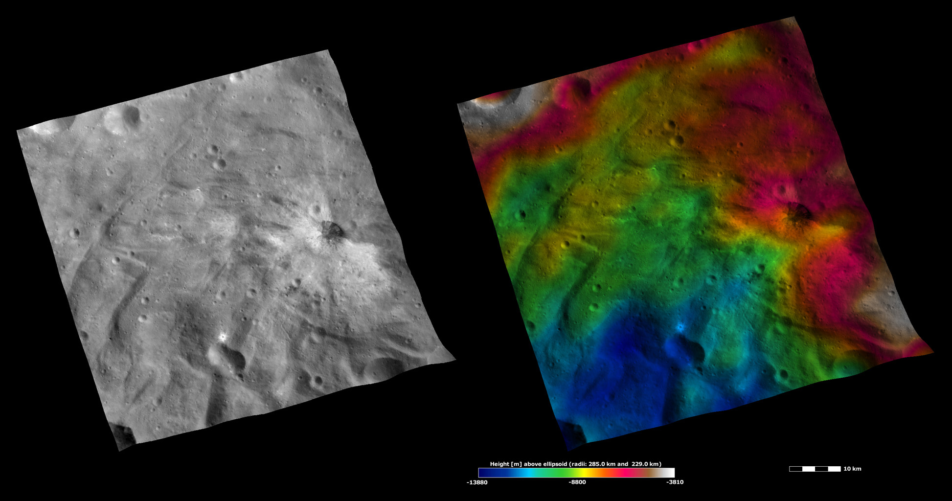 Apparent Brightness and Topography Images of Justina Crater