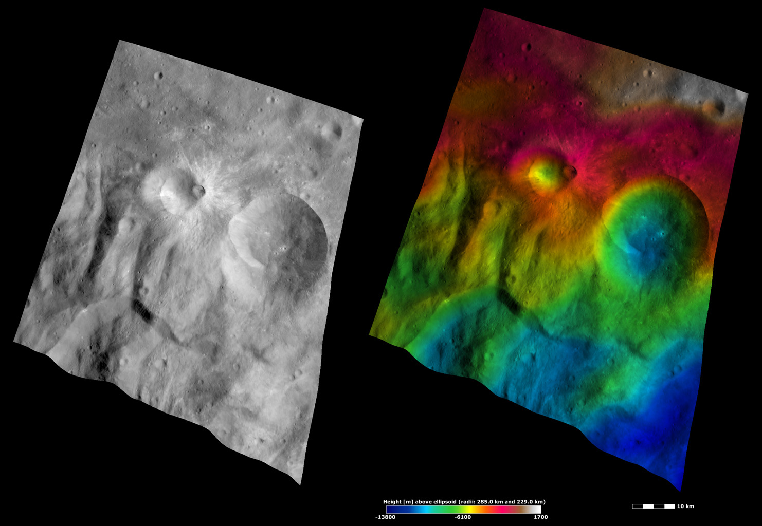 Apparent Brightness and Topography Images of Tuccia and Eusebia Craters