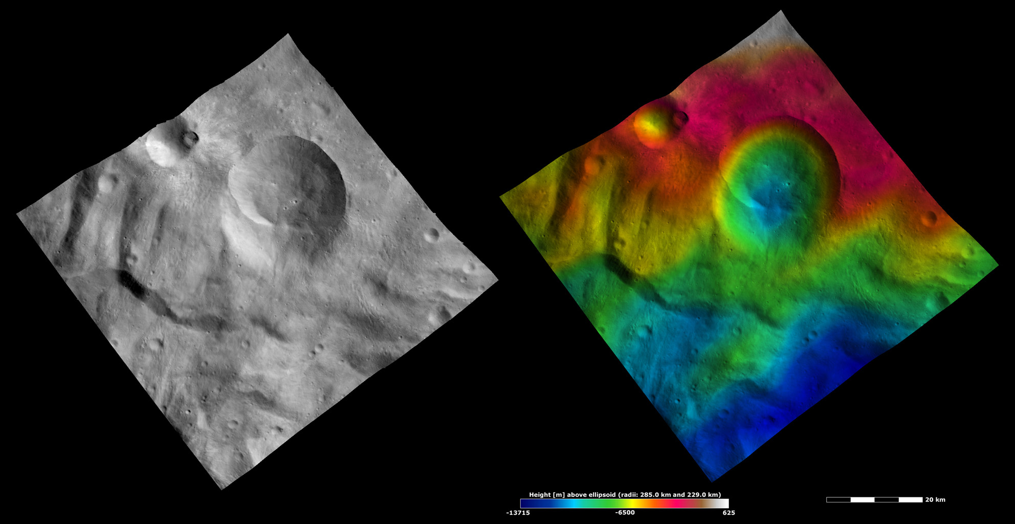 Apparent Brightness and Topography Images of Eusebia Crater