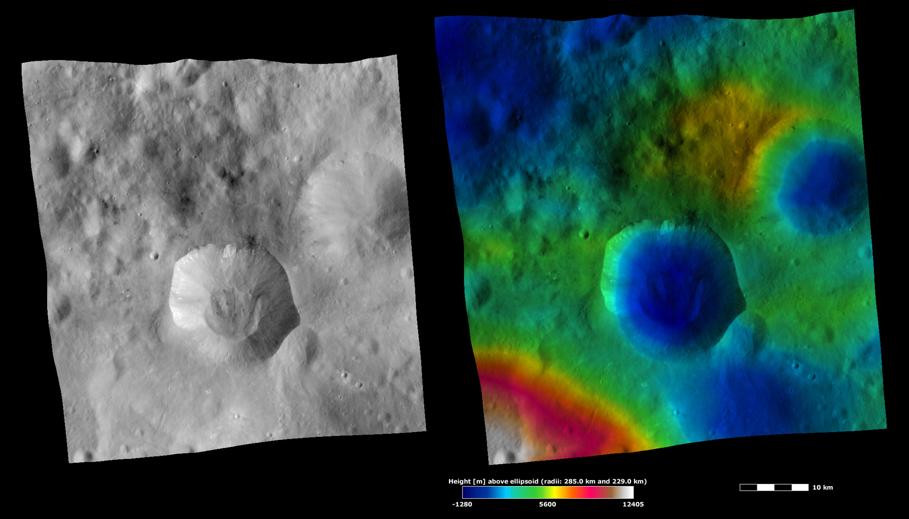 Apparent Brightness and Topography Images of Drusilla Crater