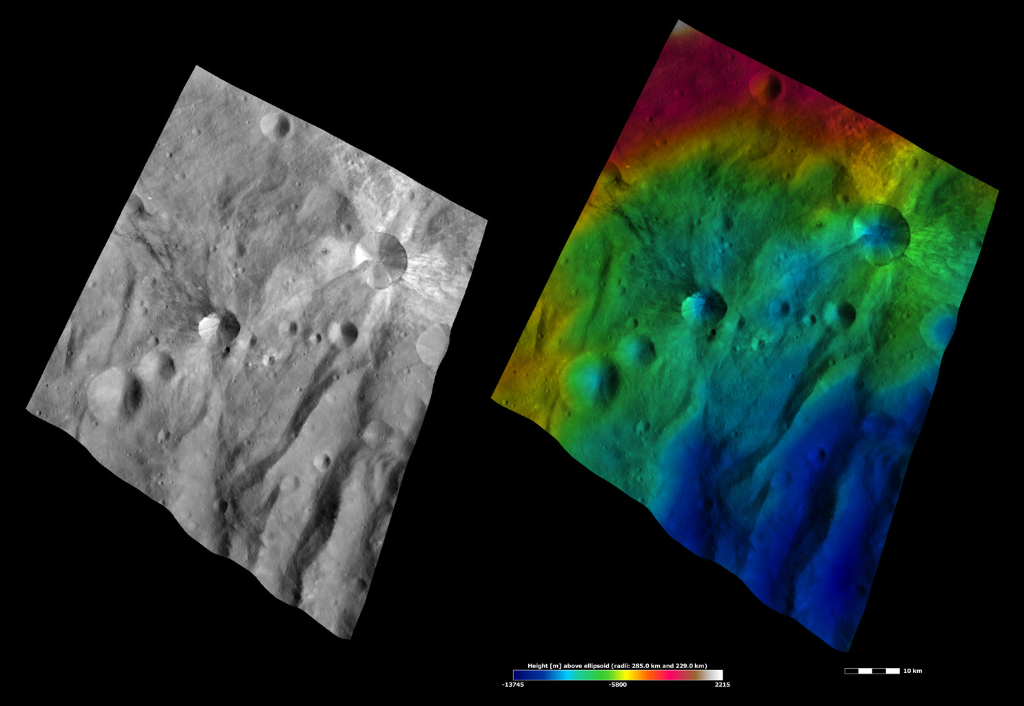 Apparent Brightness and Topography Images of Canuleia and Sossia Craters