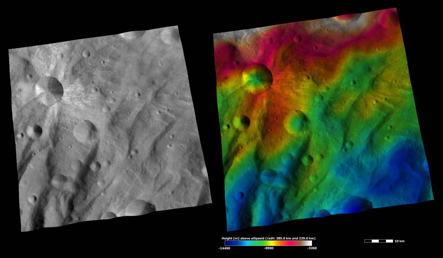 Apparent Brightness and Topography Images of Canuleia Crater