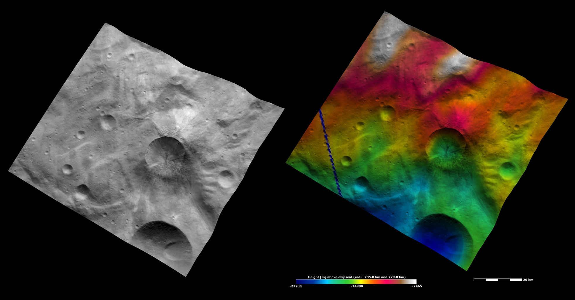 Apparent Brightness and Topography Images of Antonia Crater