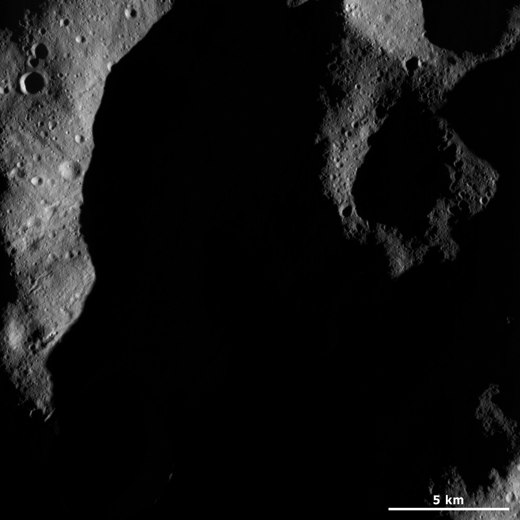 A Part of Vesta's Shadowed Northern Hemisphere