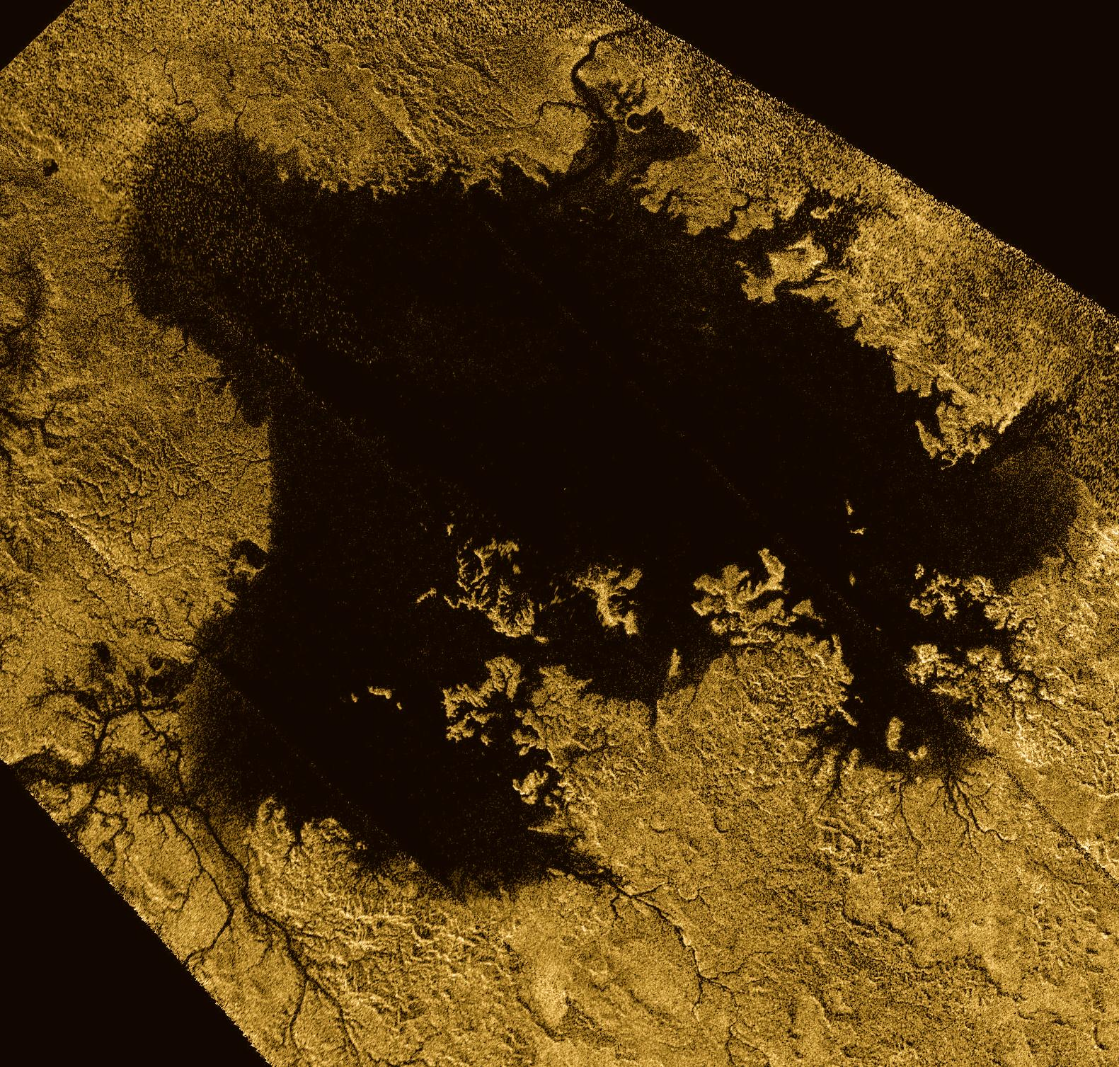 Ligeia Mare, shown here in a false-color image from NASA's Cassini mission, is the second largest known body of liquid on Saturn's moon Titan.