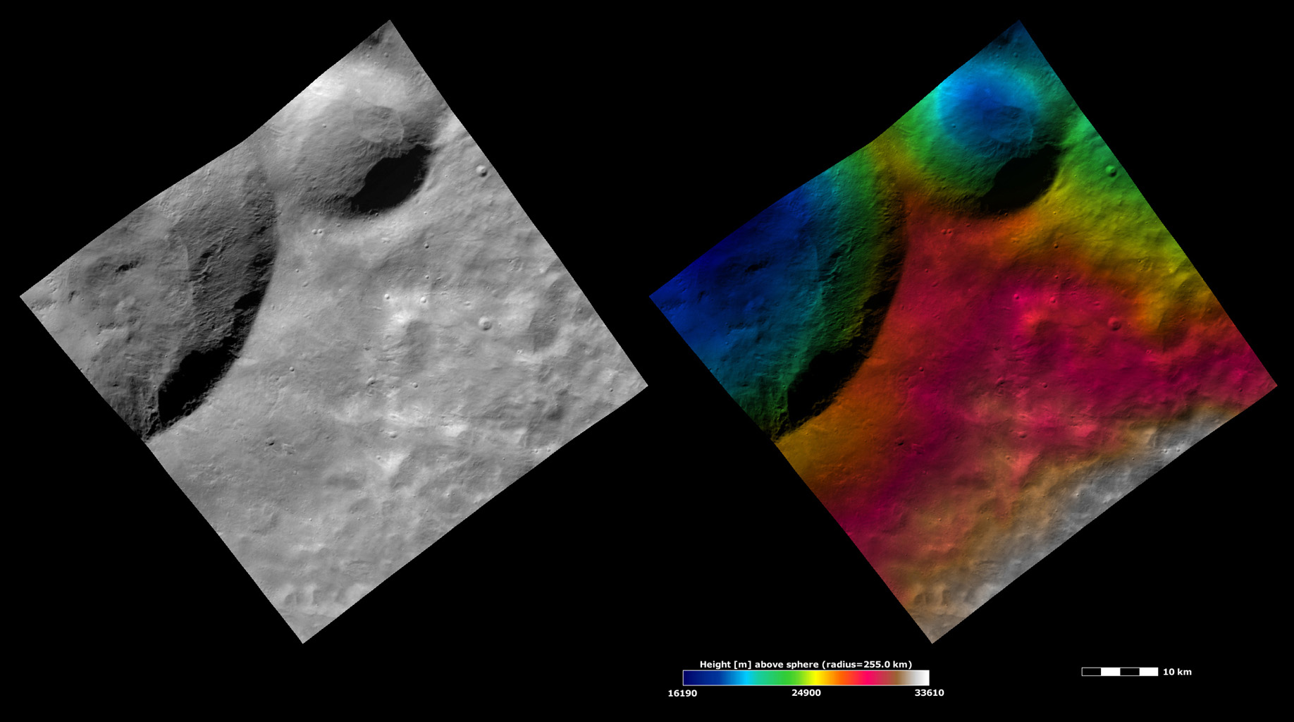 Apparent Brightness and Topography Images of Calpurnia and Minucia