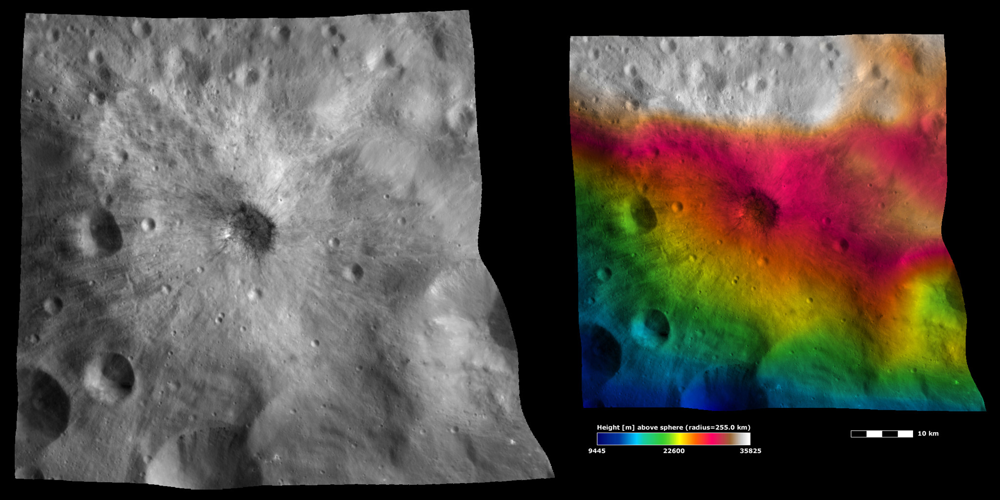 Apparent Brightness and Topography Images of Vibidia Crater