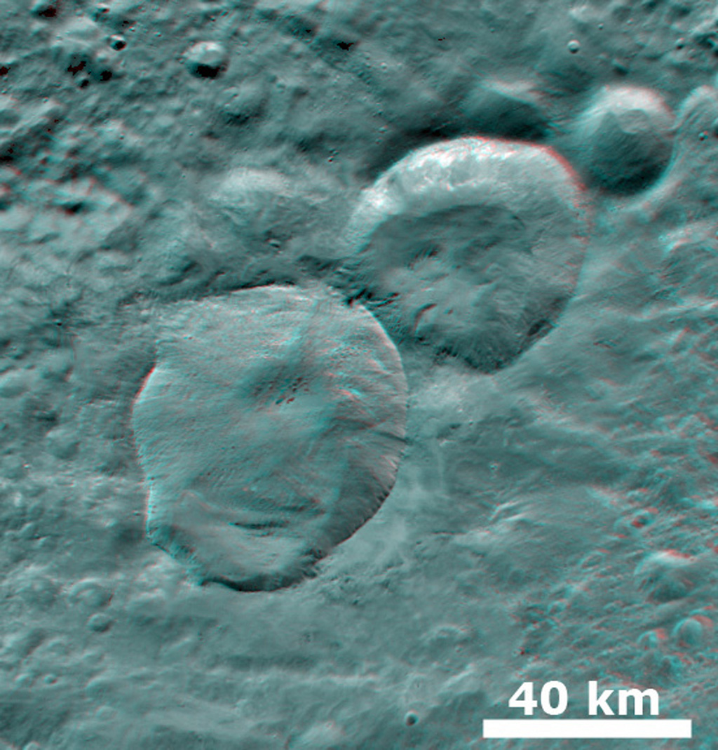 3-D Image of Fresh Craters
