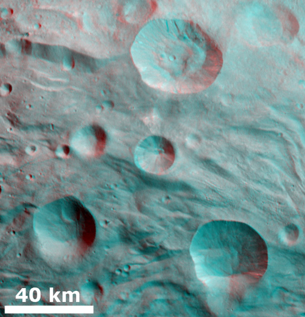 3-D Image of Partially Degraded Craters