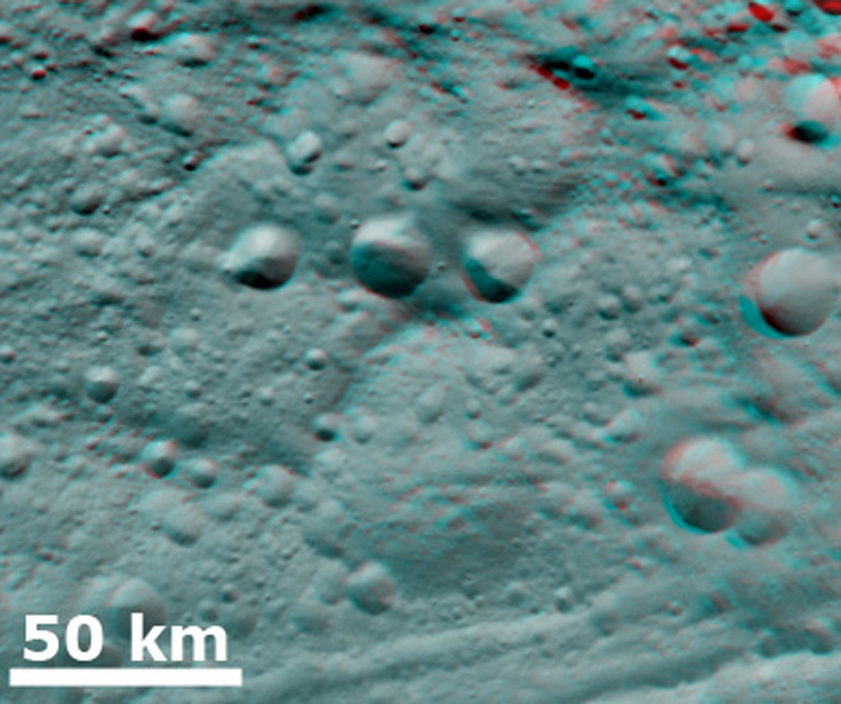 3-D Image of Degraded Craters