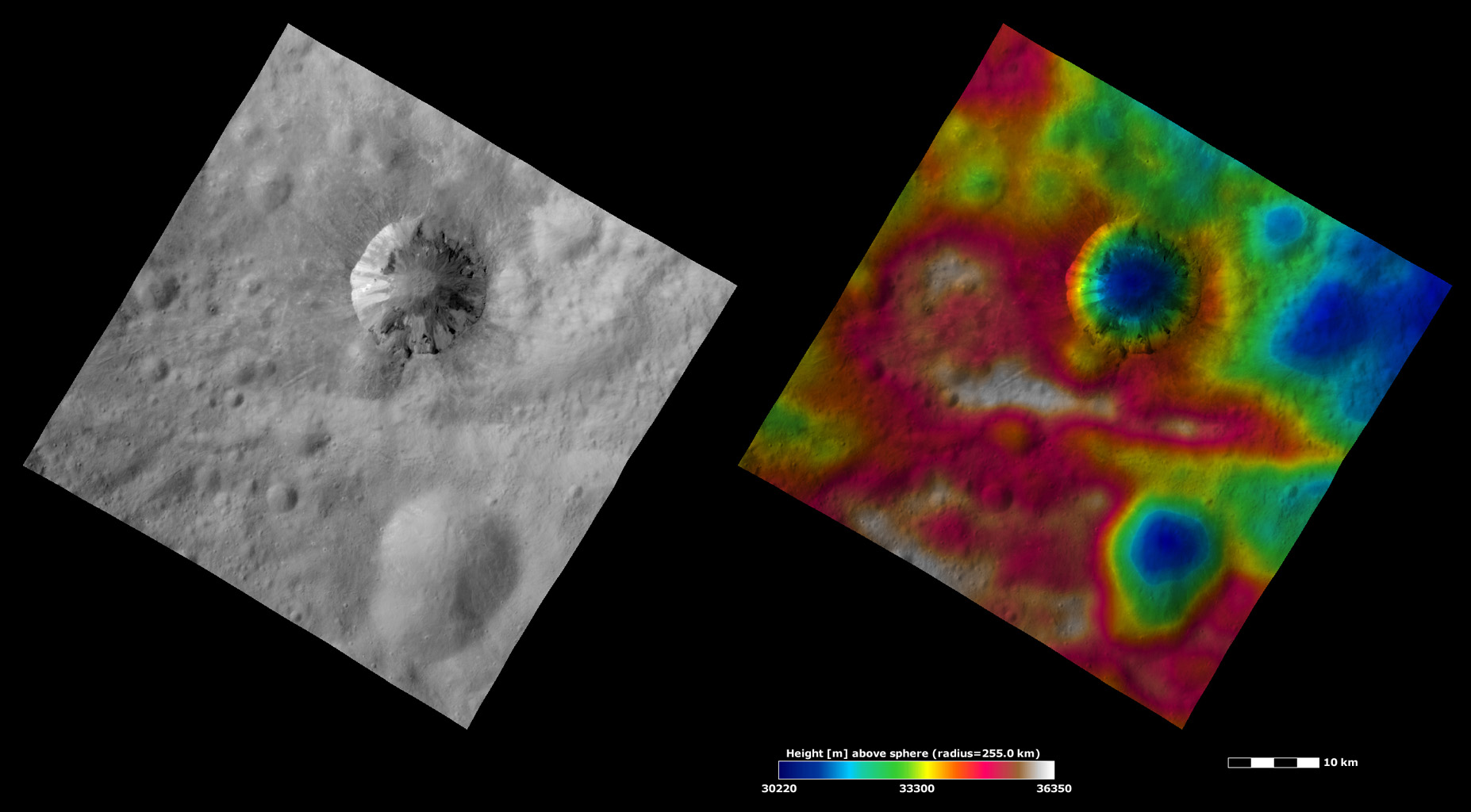 Apparent Brightness and Topography Images of Cornelia Crater